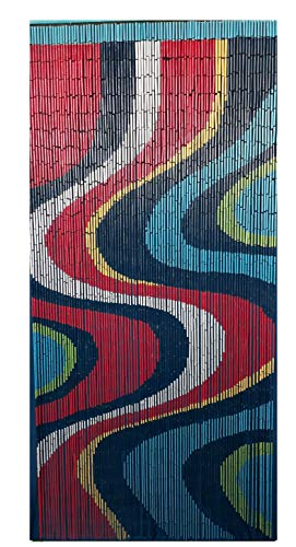 (Bamboo Beaded Curtain for Doorway, Wall Hanging, Room Divider - Color Art)