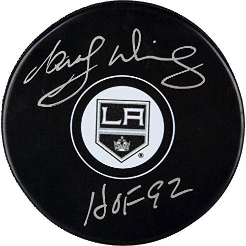 La Kings Memorabilia (Marcel Dionne Los Angeles Kings Autographed Hockey Puck with HOF 1992 Inscription - Fanatics Authentic Certified)