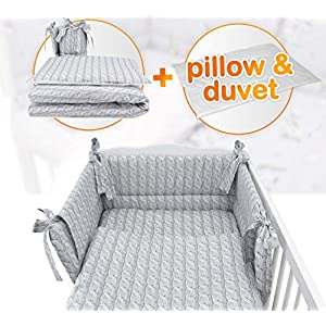 5 pc Nursery Baby Bedding Set for COT 120X60 OR COT Bed 140X70cm Inc -Duvet+Pillow+Duvet Cover+Pillow CASE+ Bumper…