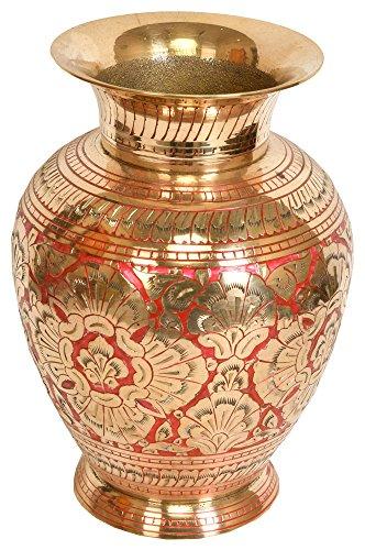 Exotic India ZCO12 Decorated Vase-Brass Statue -
