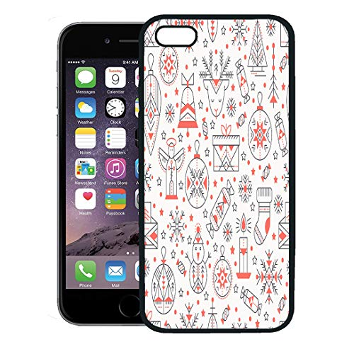 Semtomn Phone Case for iPhone 8 Plus case,Christmas Outlined Holiday and Winter Signs Black Red Color Palette Minimalistic Creative Tribal Line iPhone 7 Plus case Cover,Black ()