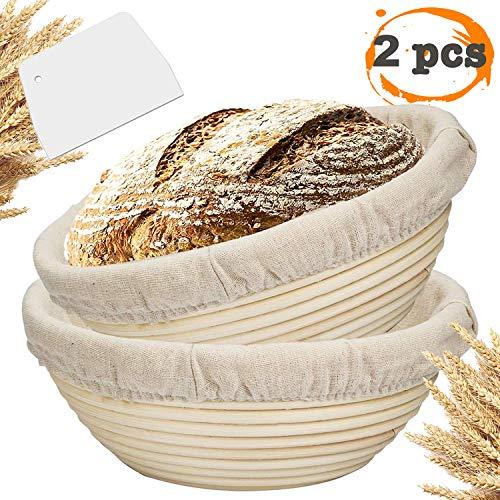 Farielyn-X 2 Packs 9 Inch Bread Banneton Proofing Basket - Baking Dough Bowl Gifts for Bakers Proving Baskets for Sourdough Lame Bread Slashing Scraper Tool Starter Jar Proofing Box