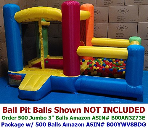 Review My Bouncer Little Castle 88 L x 118 W x 72 H Bounce House Bopper w/ Built-in Ball Pit; Hoo...