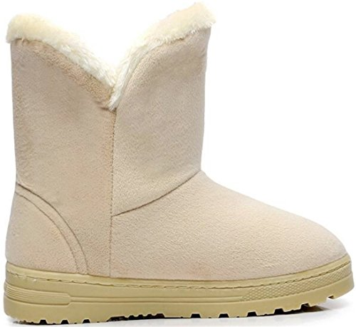 Boots Snow Ankle Bowknot Side Women's Beige Warm PPXID Winter wx0ZgpBWq