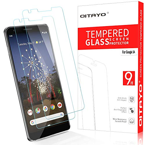 QITAYO Screen Protector for Google Pixel 3a, [HD Clear] [Bubble-Free][Case Friendly] Tempered Glass Screen Protector Compatible with Google Pixel 3a (Best Tempered Glass Screen Protector For Pixel)