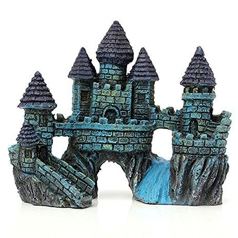 aquarium fish tank blue castle decoration - Blue Castle Decor