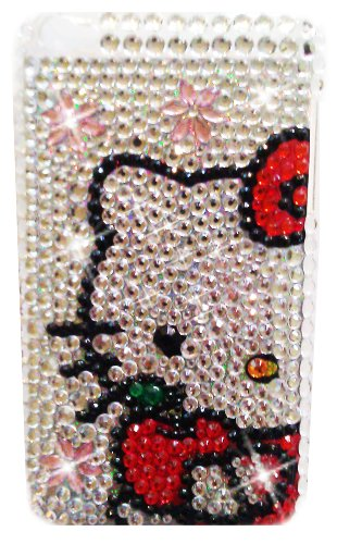 (HELLO KITTY Apple iPod Touch 4th Generation iTouch 4 Rhinestones Bling BACK PIECE Case (#2) + FREE WirelessGeeks247 Detachable Neck Strap / Lanyard )