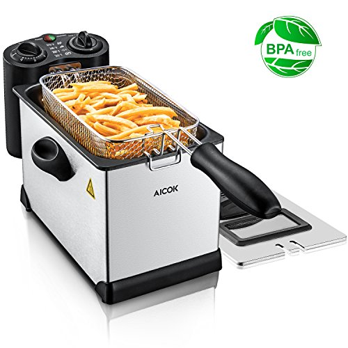 Aicok Deep Fryer with Temperature and Timer Controls, 1700W Fast Heating Immersion Electric Fryer, Fully Detachable Stainless Steel Parts for Easy Clean, Cool Touch Fat Fryer 2.5 Liter Oil Capacity