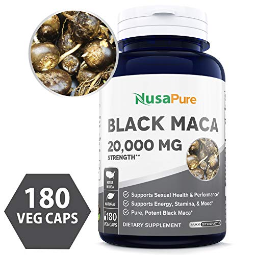 Black Maca Root 20000mg 180 Veggie Capsules (100% Vegetarian, Non-GMO, Gluten Free) Max Strength, Maca Root Extract Supplement from Peru - Support Reproductive Health - 100% Money Back Guarantee!