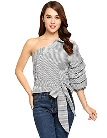 Zeagoo Women Sexy Off Shoulder Tops Stripped Shirt Cotton Waist Tie Party Blouse Black M