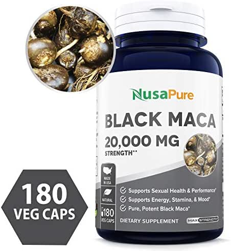 Black Maca Root 20000mg 180 Veggie Capsules (Vegetarian, Non-GMO, Gluten Free) Max Strength, Maca Root Extract Supplement from Peru - Support Reproductive Health