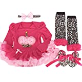 Marlegard® Baby Girls' 4PCs Peach Birthday Cupcake Tutu Dress Headband Shoes Leggings
