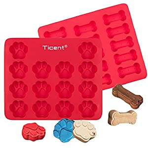 Ticent Dog Paws & Bones Cake Pan, Food Grade Silicone Dog Treats Baking Molds for Kids, Pets, Dog-lovers Cookie Cutter, 12 by 10 inch