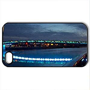 wonderful modern bridge in lights - Case Cover for iPhone 4 and 4s (Bridges Series, Watercolor style, Black)