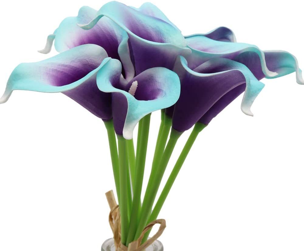 """Mini 15"""" Artificial Calla Lily 10 Stem Bridal Bouquets Artificial Latex Real Touch Flowers for Home Party Decor (Purple in Blue)"""