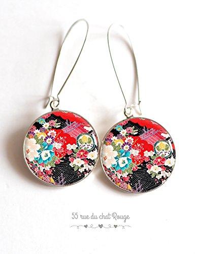 resin cabochon earrings, japanese motif, japan floral art, flowers, seigahia, multicolor
