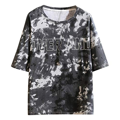 LUCAMORE Mens Casual Printed O-Neck Short Sleeve Shirts Summer Loose Tops Fashion Comfortable Blouse Black (Sure Grip Oxford)