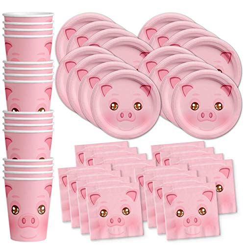 Pig Birthday Party Supplies Set Plates Napkins Cups Tableware Kit for 16]()