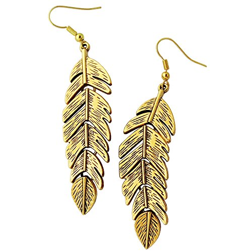 Swan Feather Earrings - Antiqued Gold Feathers Dangle Earrings
