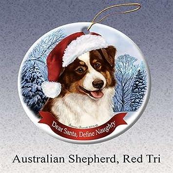 Image Unavailable - Amazon.com: Holiday Pet Gifts Australian Shepherd (Red Tri) Santa