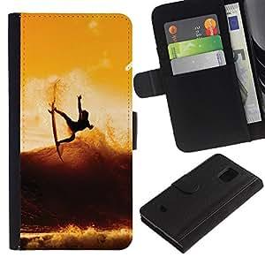 Ihec-Tech / Flip PU Cuero Cover Case para Samsung Galaxy S5 Mini, SM-G800, NOT S5 REGULAR! - Sunset Surf Surfer Cool Wave