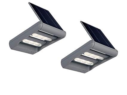 2 Lustre Lampe solaire applique murale extérieure LED Mini LEDSPOT en lot  de 2, argent 92bc29ceea7a