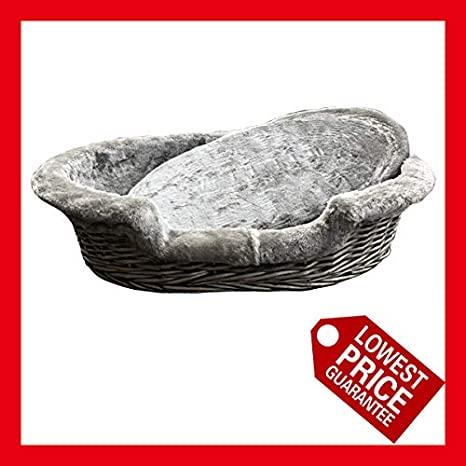 26 Easypet Luxury Oval Wicker Pet Basket with Fur Lined Inner and Cushion 8