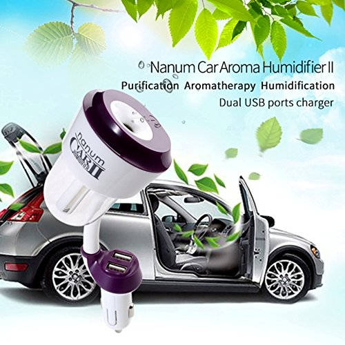 Power Q Car Travel Health Mini Cool Mist Humidifier Aromatherapy Ultrasonic Essential great Stable for in Car house indoor studios dry environment heavy winters Home Office Yoga Spa Hotel (Purple)