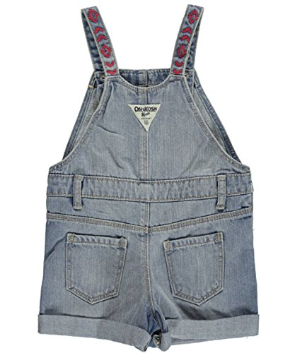 6M OshKosh Bgosh Baby Girls Embroidered Denim Shortalls Blue