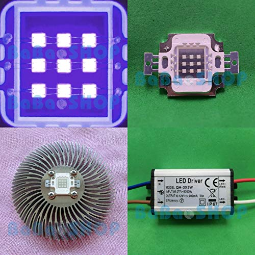 FidgetKute 10W 45mil UV 365nm~400nm~420nm Purple LED Lamp Light Curing + Driver + Heat Sink 415-420nm +Heat Sink 1pc None One Size