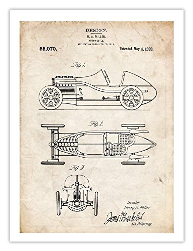 Vintage Motor Racing (Steves Poster Store MILLER VINTAGE RACE CAR 1920 US PATENT ART RETRO POSTER PRINT 18X24 AUTO INDY RACING MOTOR GIFT)