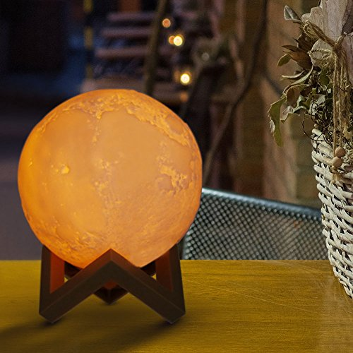 3D Moon Lamp 5.9 Inch, Slopehill Lunar Night Light LED Yellow Warm and White 3 Colors Change Tapping...