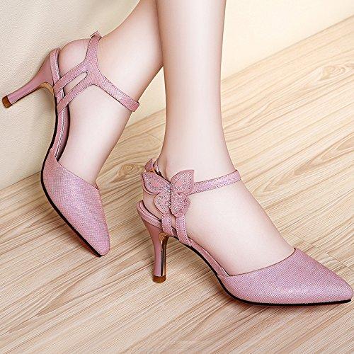 Las mujeres los zapatos de cuero verano Sandalia Tacón,39 verde oscuro Pink
