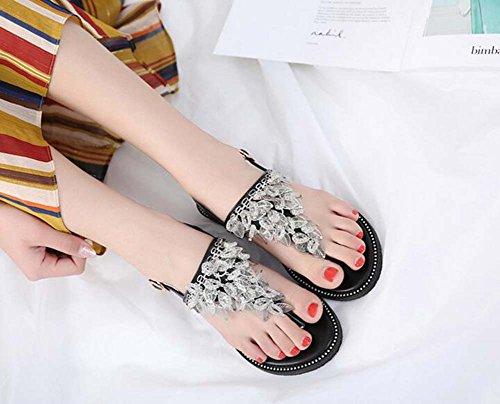 con donne Shoes per Slingback Beach Comforty Fibbia 40 per piatti Size casual Sandali le cintura Eu Holiday Tessel Black 34 Rivetti Scarpe clip Zx4wX5cPq