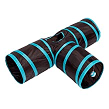 Cideros Collapsible Cat Tunnel Toys - 3 Way Play Toy Pet Tunnels and Tubes With Crinkle Peep Hole Design House for Rabbits Kittens Dogs Cats and Other Small Animals …