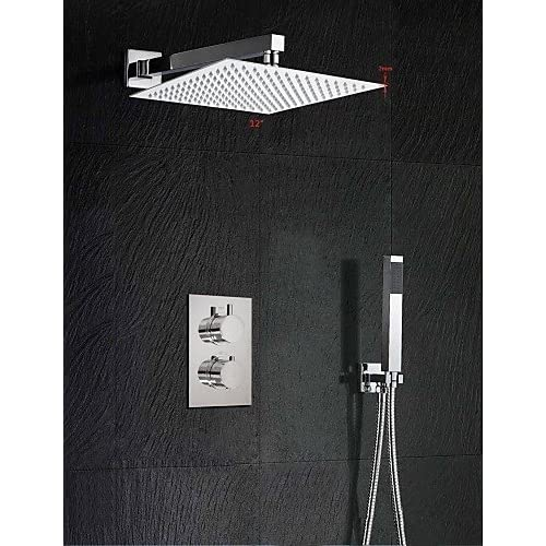 SAEKJJ-12 Inch Thermostatic Mixer Shower Rainlfall 300mm Ultra-Thin Waterfall Shower and Hand Held Bathroom faucet chic