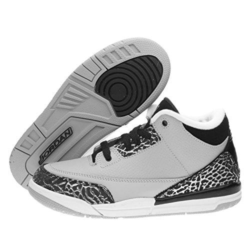 nike air jordan 3 retro BP hi top trainers 429487 sneakers shoes (UK 2.5 us 3Y EU 35, wolf grey/metallic silver-black 004) (Nike Jordan Retro 3 Grey)