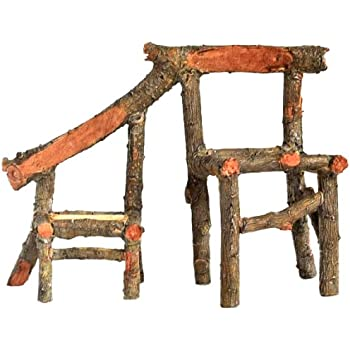 Top Collection Enchanted Story Garden Fairy Furniture Father And Son Wooden  Chair Outdoor Decor