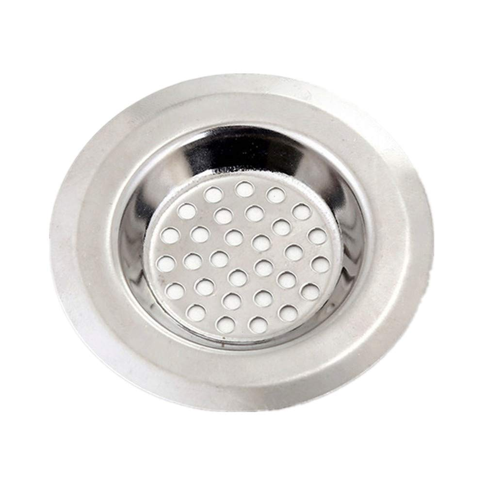 Stainless Steel Kitchen Restaurant Bar Counter Water Sink Strainer Cover Floor Drain Plug Bath Catcher Drain Plug (Silver, Porous) TiTCool