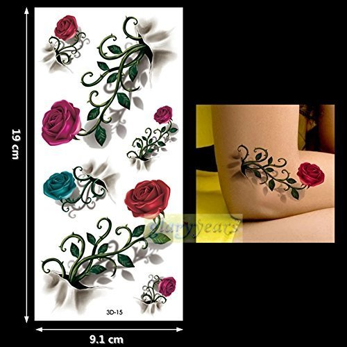 Red roses Boho, Mandala, Mehndi Black LACE garter belt metallic flash temporary tattoos body jewelery stickers body art metallic flash tattoo body stickers 3d body glam water transfer (Glam Metallic Belt)