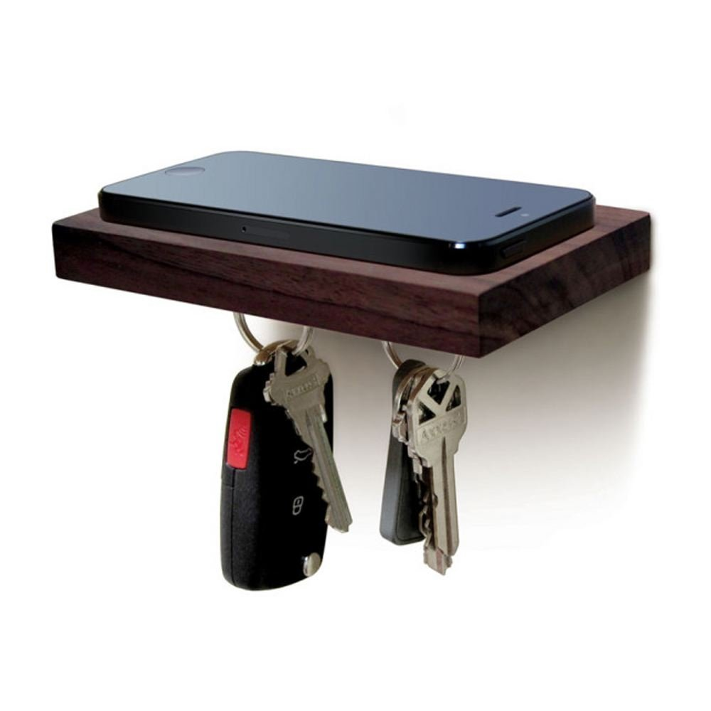 Natural Wood ILH029 ILoveHandles Plank Floating Cell Phone Wall Mounted Wood Shelf With Magnetic Keyhook