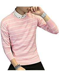GAGA Men's Casual Slim Striped Long-sleeved Pullover Sweater