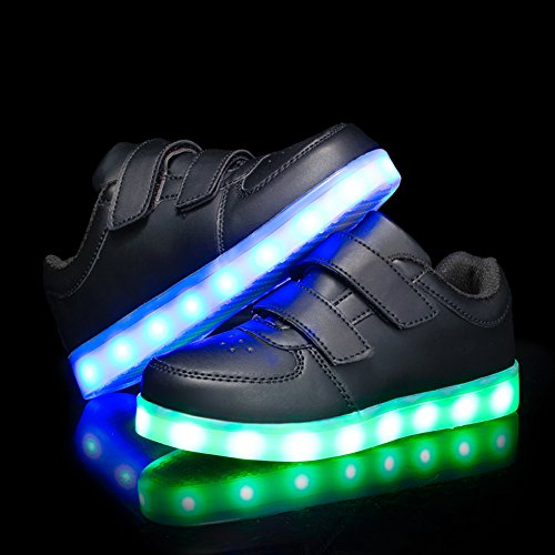 Voovix Kids LED Light up Shoes Lighting Low-Top Sneakers for Boys and Girls(Black,US11/EU29) by Voovix (Image #5)