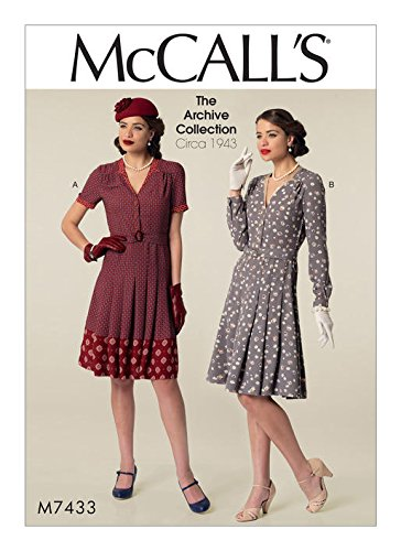 1940s Fabrics and Colors in Fashion MCCALLS M7433 (14-22) Misses Inverted Notch-Collar Shirtdresses and Belt SEWING PATTERN $9.95 AT vintagedancer.com
