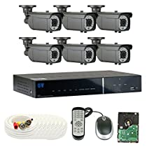 GW Security 8-Channel HD-TVI 1080P Complete Security System with (6) x True HD 1080P Outdoor / Indoor 2.8-12mm Varifocal Zoom Bullet Security Cameras and 2TB HDD, QR Code Scan Free Remote View