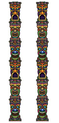 Beistle S50467AZ2 Jointed Tiki Totem Pole 2 Piece, Multicolored