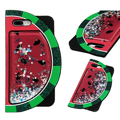 iPhone 8 Plus Case, iPhone 7 Plus Case, Liquid Glitter Case Cover Quicksand Bling Flowing 3D Design Lovely Watermelon Full Body Protective Soft Flexible TPU Case for iPhone 7 Plus/iPhone 8 Plus]()