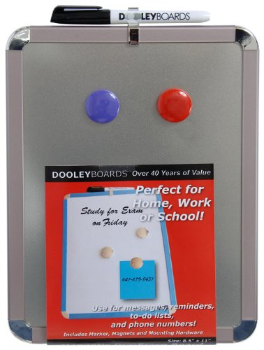- Dooley Metallic Framed Steel Surfaced Magnetic Dry Erase Board, 8.5 x 11 Inches, 1 Board (811MGST)