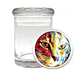 Medical Glass Stash Jar Pop Art Pop Icon Cat S5 Air Tight Lid 3'' x 2'' Small Storage Herbs & Spices