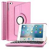 iPad Mini 4 Keyboard Case, BoriYuan PU Leather Detachable Wireless Bluetooth Keyboard Folio Flip Cover with 360 Degree Rotating Stand For Apple iPad Mini 4th Gen (2015 Release), Hot Pink